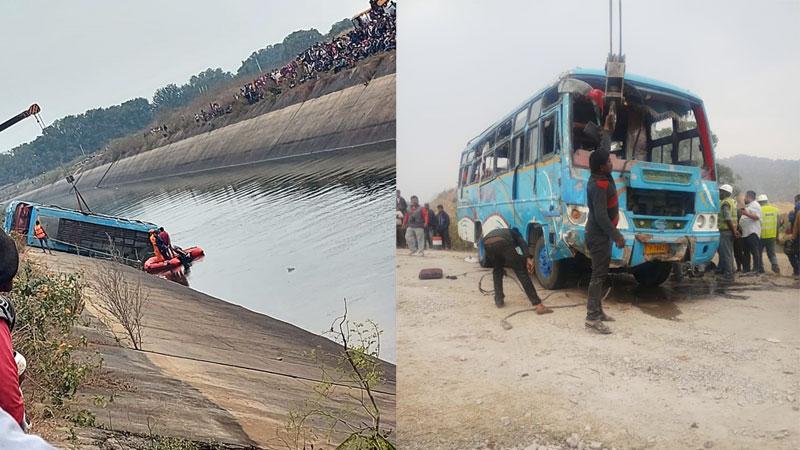 सीधी जिले में हुई बस दुर्घटना में प्रशासन द्वारा रेस्क्यू ऑपरेशन चलाया गया, बस नहर से बाहर निकाली गई